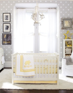 Cheerful and pleasant, these cute little polka dots lend themselves perfectly to a newborn's nursery.