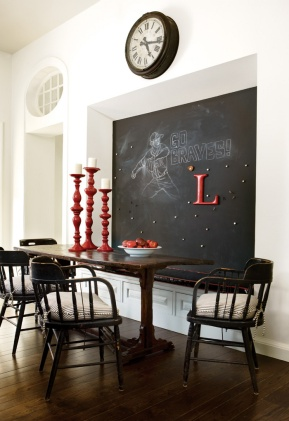 A classical chalkboard adds to the feel of this traditional home.