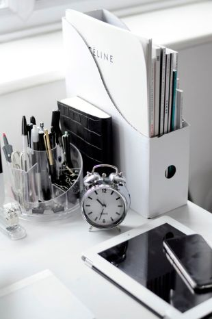 A black and white work space.