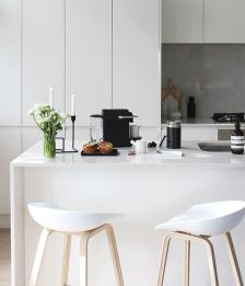 Simplicity is key when it comes to this all-white kitchen.