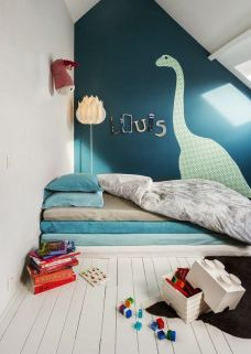 A blue boys bedroom.