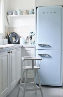 Soft and sweet with this baby blue vintage freezer.