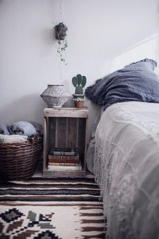 A calm blend of hues adds a natural element of style for this bohemian inspired room.