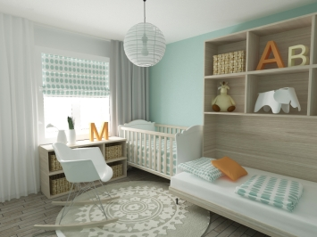 This nursery is vivid and charming; mint green walls work great for both girls and boys.