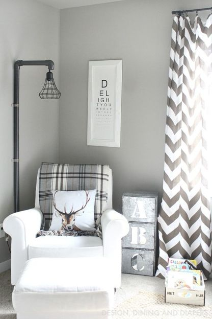 Add a reading corner to any room with a single chair and cozy throw.