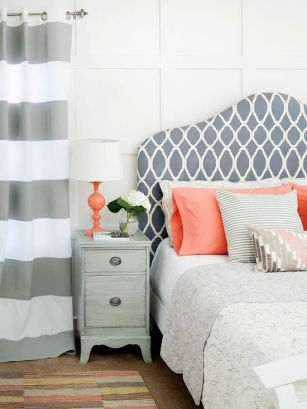 An orange and grey color palette is an attractive choice for an optimistic, warm and modern space.