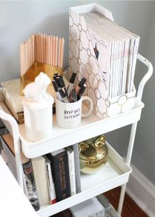 Keep your office supplies handy by storing them in a cart.