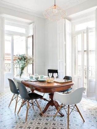 A vintage apartment dining room.