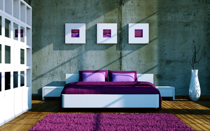 beautiful-white-purple-brown-wood-cool-design-pretty-bedroom-purple-feather-rug-wood-floor-wood-bed-purple-mattres-cushion-end-table-display-cabinet-at-bedroom-as-well-as-modern-bedroom-decor-plus-int