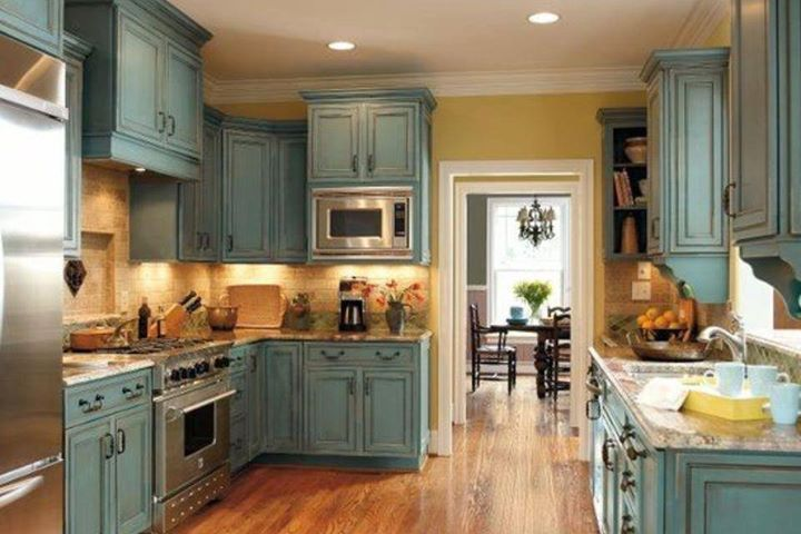 Distressed-Gray-Kitchen-Cabinets