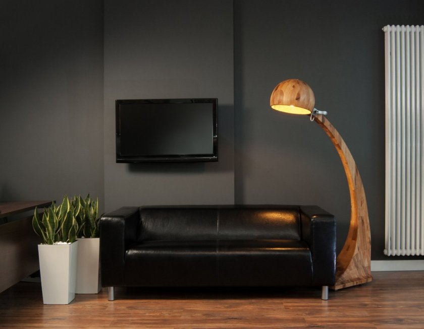 Unique-and-Cool-Floor-Lamps-in-Living-Room-with-Black-Sofa-and-Plants-Decor