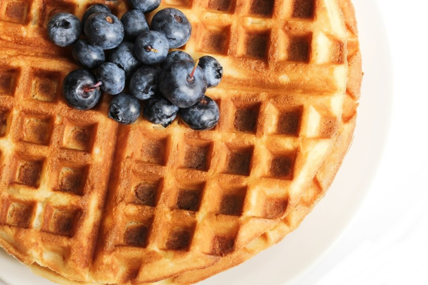 Breakfast - Waffles with Blueberry Top View in white