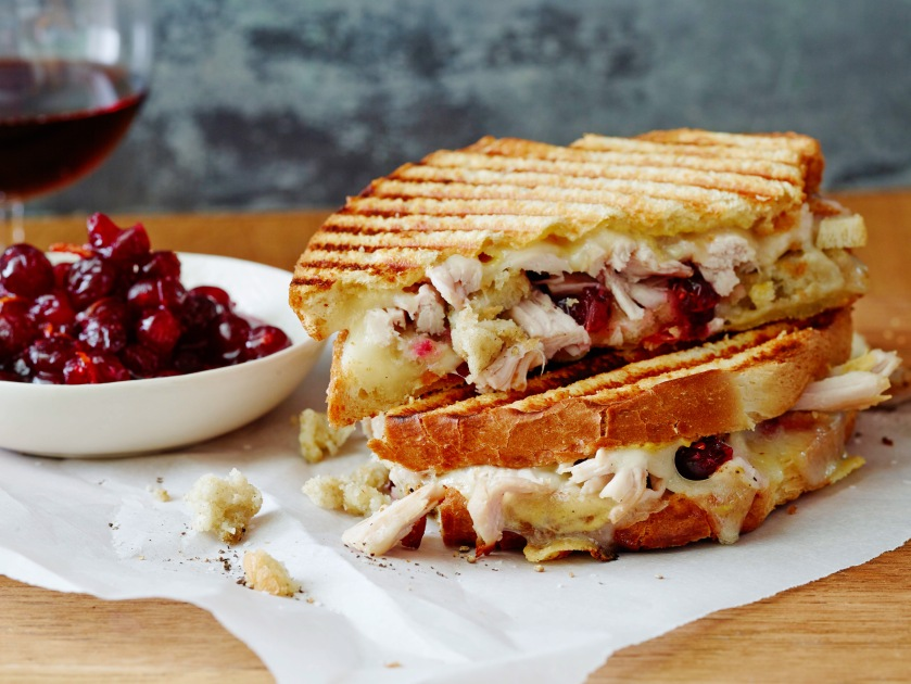 LEFTOVER THANKSGIVING PANINI Ree Drummond The Pioneer Woman/Turkey Day Leftovers Food Network Dijon Mustard, Sourdough Sandwich Bread, Swiss Cheese, Leftover Roasted Thanksgiving Turkey, Cranberry Sauce, Leftover Dressing, Leftover Giblet Gravy, Butter